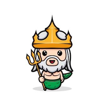Netuno fofo segurando uma arma tridente, mascote rei do oceano