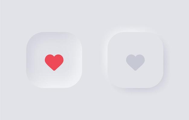 Neumorfismo botão de amor do coração para elementos de design ui ux ou ícone semelhante com neumorfismo