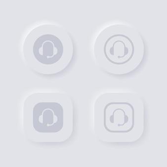 Neumorfismo ícone de atendimento ao cliente ou botão de suporte com símbolo de fone de ouvido para aplicativos ui ux