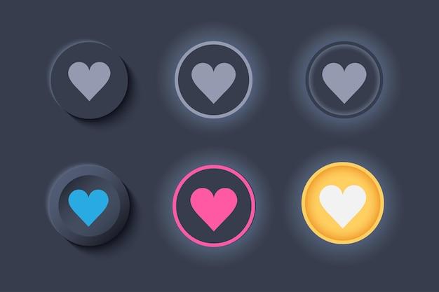 Neumorph ui como botões escuros definido. botões com coração para favoritos e curtidas.