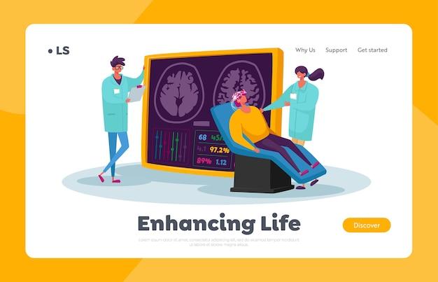 Neurobiology medicine, brain mri landing page template