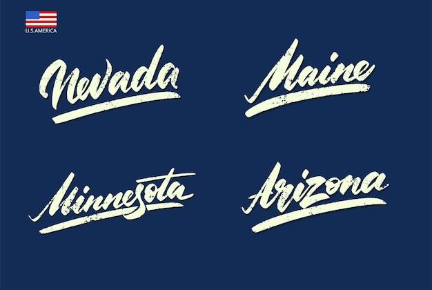Nevada, maine, arizona, minnesota. ilustração vetorial da rotulação de esportes antigos
