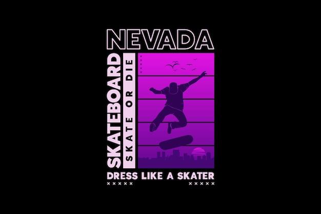 .nevada skate, design de estilo de silhueta