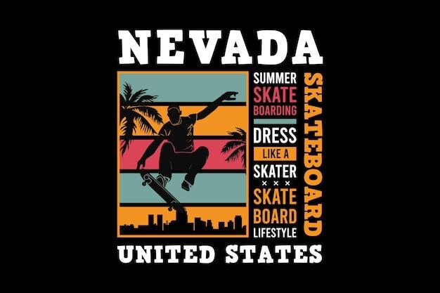 .nevada skateboarding, design elegante estilo retro.