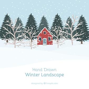 Nevado paisagem com a casa vermelha e pinheiros