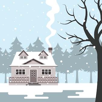 Nevando na casa de férias de inverno
