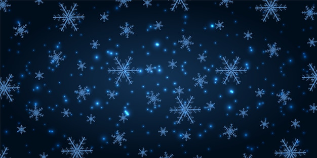 Neve brilhante sobre um fundo de ano novo azul marinho.