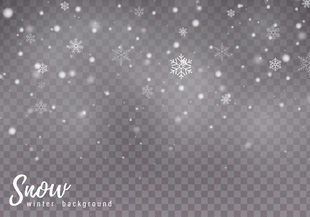 Neve caíndo. flocos de neve, forte nevasca