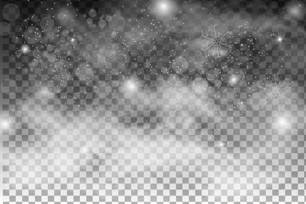 Neve caindo isolada em fundo escuro. efeito de decoração transparente de floco de neve. textura de neve branca mágica. tempestade de neve do inverno