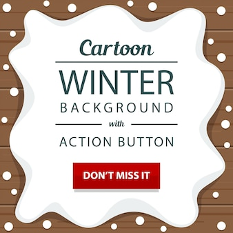 Neve de inverno de madeira com modelo de banner de botão de ação