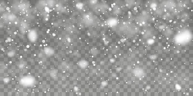Neve de natal. flocos de neve caindo em fundo transparente. queda de neve. ilustração vetorial.