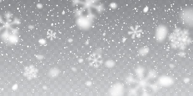 Neve de natal. flocos de neve caindo em fundo transparente. queda de neve.