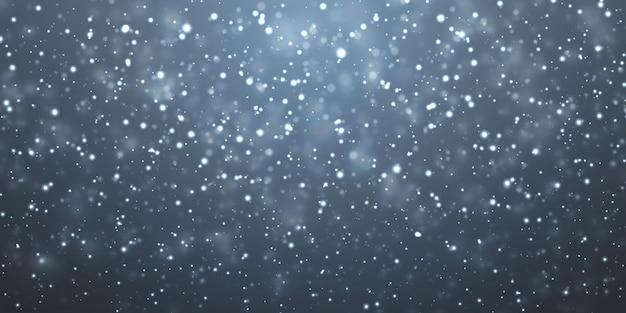 Neve de natal. flocos de neve caindo sobre fundo azul escuro. queda de neve. ilustração vetorial.