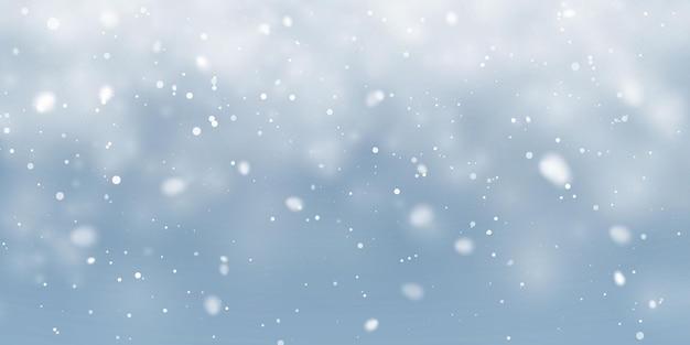 Neve de natal. flocos de neve caindo sobre fundo azul. queda de neve. ilustração vetorial.