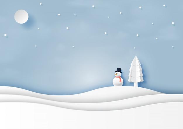 Neve e inverno temporada paisagem papel arte estilo