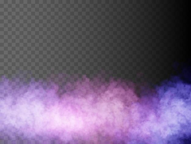 Névoa colorida ou fumaça isolada transparente efeito especial brilhante vetor neblina nebulização ou poluição atmosférica de volta ...