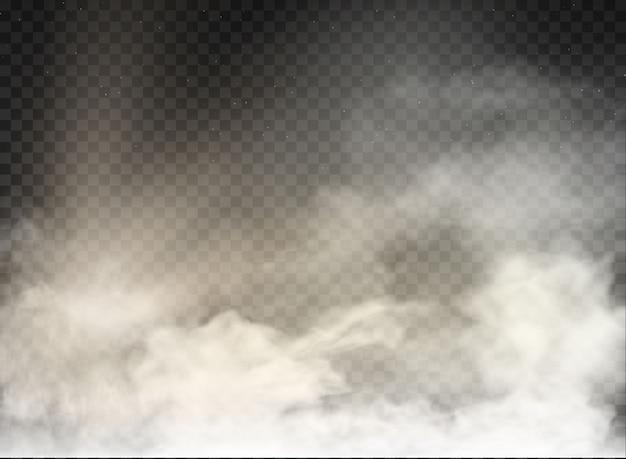 Nevoeiro e fumaça isolado em fundo transparente