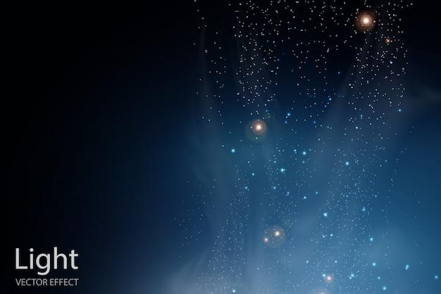 Nevoeiro mágico e fkashes. estrelas brilhando e nuvens.