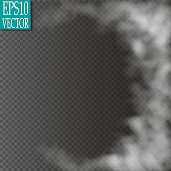 Nevoeiro ou efeito especial transparente isolado de fumaça. nublado vector branco, névoa ou fundo de poluição atmosférica.