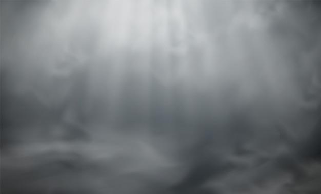 Nevoeiro ou fumaça com efeito de névoa de holofotes, nuvens brancas abstratas