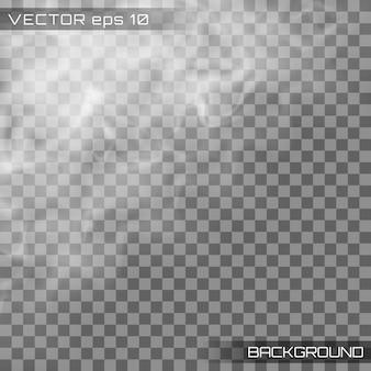 Nevoeiro ou fumaça, nuvem realista, fumaça transparente.