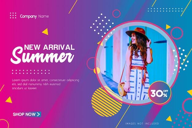 New arrival summer sale oferta banner com geométrica
