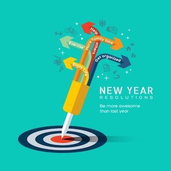 New ilustração do conceito definição do ano com dardo preso no centro do alvo bullseye