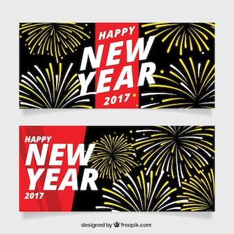 New year 2017 banners com fogos de artifício