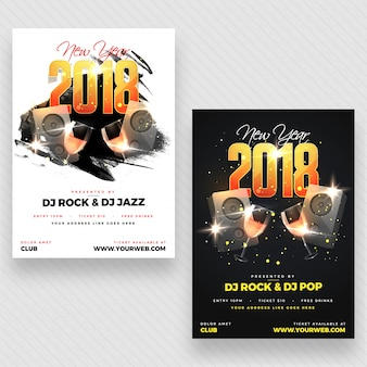 New year evening 2018 party poster, banner ou flyer design com duas opções de cores.
