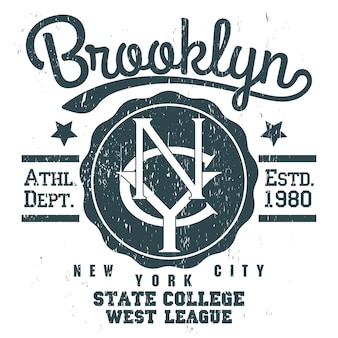 New york brooklyn sport desgaste emblema grunge tipografia, gráficos de carimbo de t-shirt, tee print, design de roupas esportivas