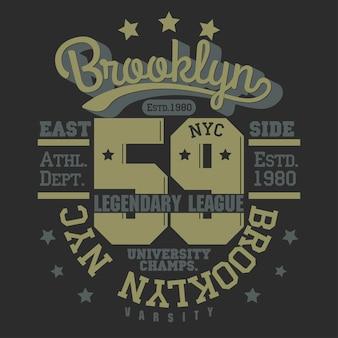 New york brooklyn sport wear emblema de tipografia, gráficos de carimbo de t-shirt, tee print, design de roupas esportivas. vetor