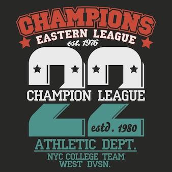 New york sport wear emblema tipografia, gráficos de carimbo de t-shirt, tee print, design de roupas esportivas. vetor