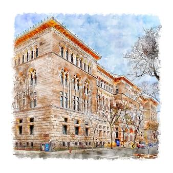 Newberry library france esboço em aquarela.