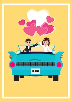 Newly weds casal apaixonado, design de cartão de saudação do dia dos namorados.
