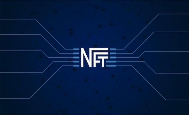 Nft token não fungível em fundo escuro dinheiro online para comprar cartaz de arte exclusivo, pagar exclusivo