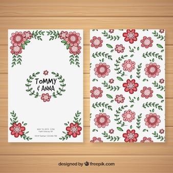 Nice convite de casamento desenhado a mão com um padrão floral