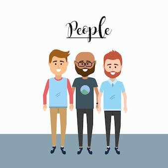 Nice men amigos com design de roupas