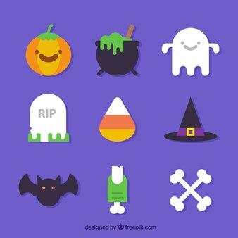 Nice objeta a coleção do dia das bruxas no design plano