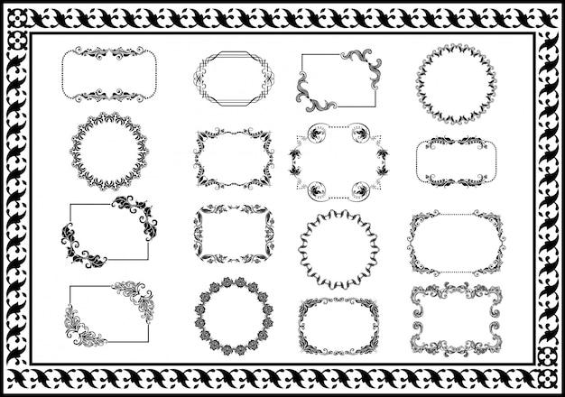 Nice set vintage frames divisores de cor preta