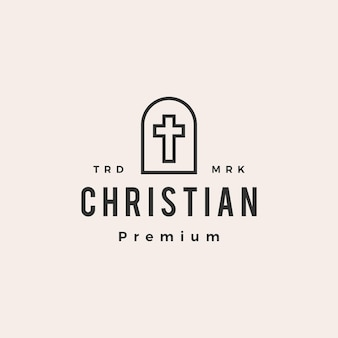 Nicho door christian cross hipster logo vintage