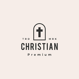 Nicho door christian cross hipster logo vintage