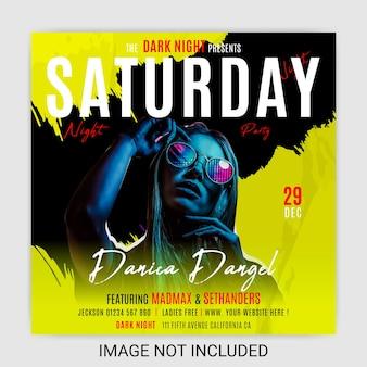 Night club music party flyer mídia social post template design premium vector