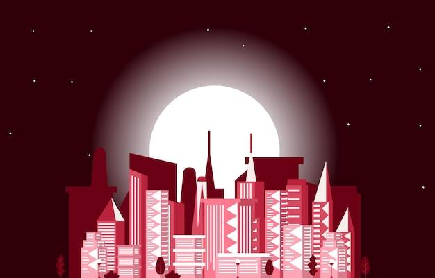 Night moon modern city skyscraper building cityscape ilustração