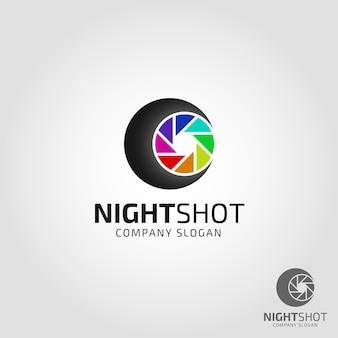 Night shot photography logo template