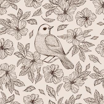 Nightingale on flower hibiscus com folhas monocromáticas desenhadas à mão