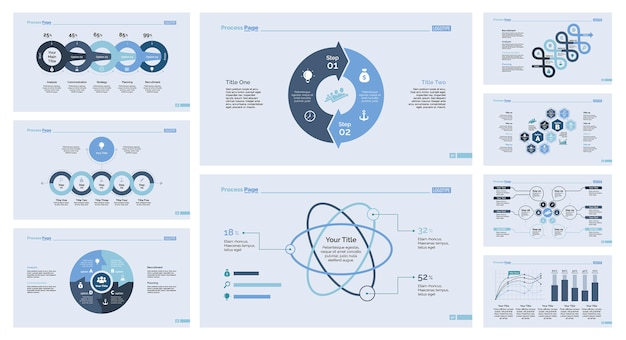 Nine infographics slide template set
