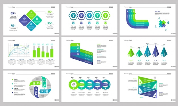 Nine marketing slide templates set