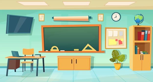 Ninguém escola interior de sala de aula com mesa de professores e quadro-negro. fundo de educação escolar dos desenhos animados. interior da sala de aula. sala de reuniões. ilustração vetorial em estilo simples