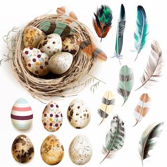 Ninho com ovos de páscoa e penas