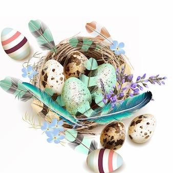 Ninho com ovos e penas de fundo